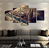 [Medium] Premium Quality Canvas Printed Wall Art Poster 5 Pieces / 5 Pannel Wall Decor Game Of Thrones Castle Painting, Home Decor Pictures - With Wooden Frame