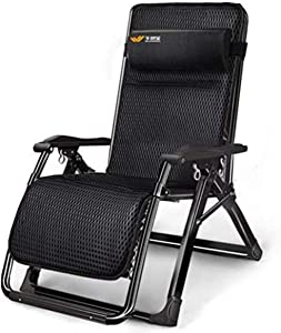 chair Wide Patio Lounger Recliner Terrace Foldable Adjustable Recliner Outdoor Office Beach Recliner Support 440lbs (Color : Without mat),Colour:with Breathable Cushion