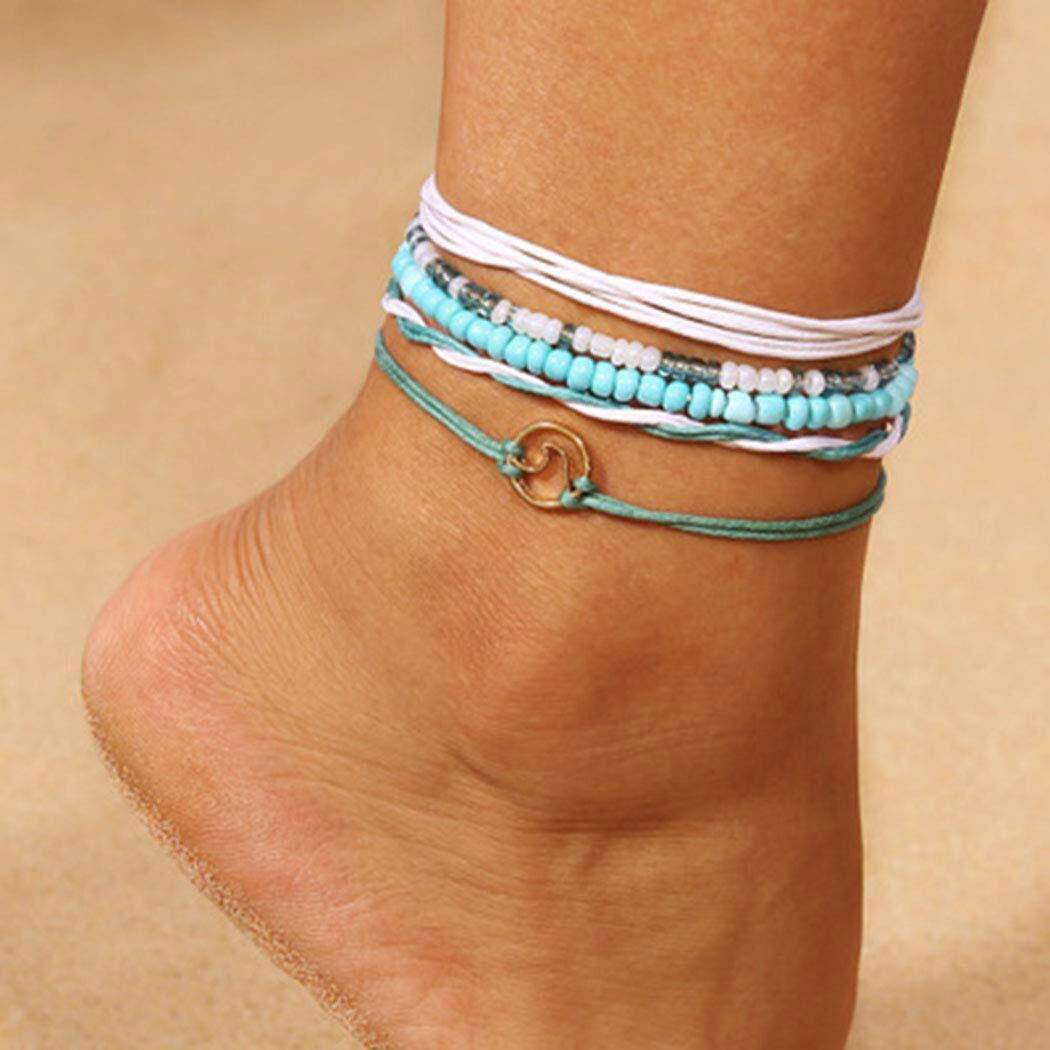 Jeweky Boho Layered Turquoise Anklets Blue Ankle Bracelets Wax Rope Beach Foot Jewelry for Women and Girls