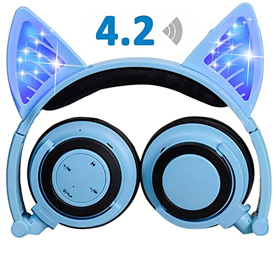 Cat Ear Bluetooth Kids Headphones,iGeeKid LED Foldable Wireless ...