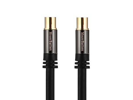 Mountbatten 9.5mm hembra al cable coaxial masculino de la antena de TV del cable de F-Tipo, cable coaxial plateado oro del TV de F-Type, para la caja de ...