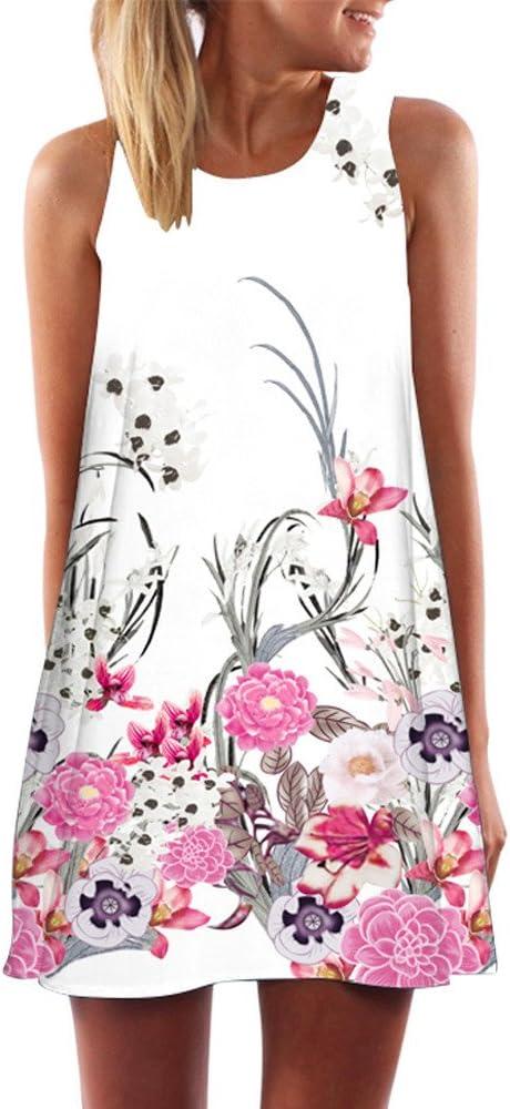 Caoqao elegancka damska sukienka balowa w stylu vintage, na wesele, odświętna, bez rękawÓw, nadruk na plaży, krÓtka minisukienka: Odzież