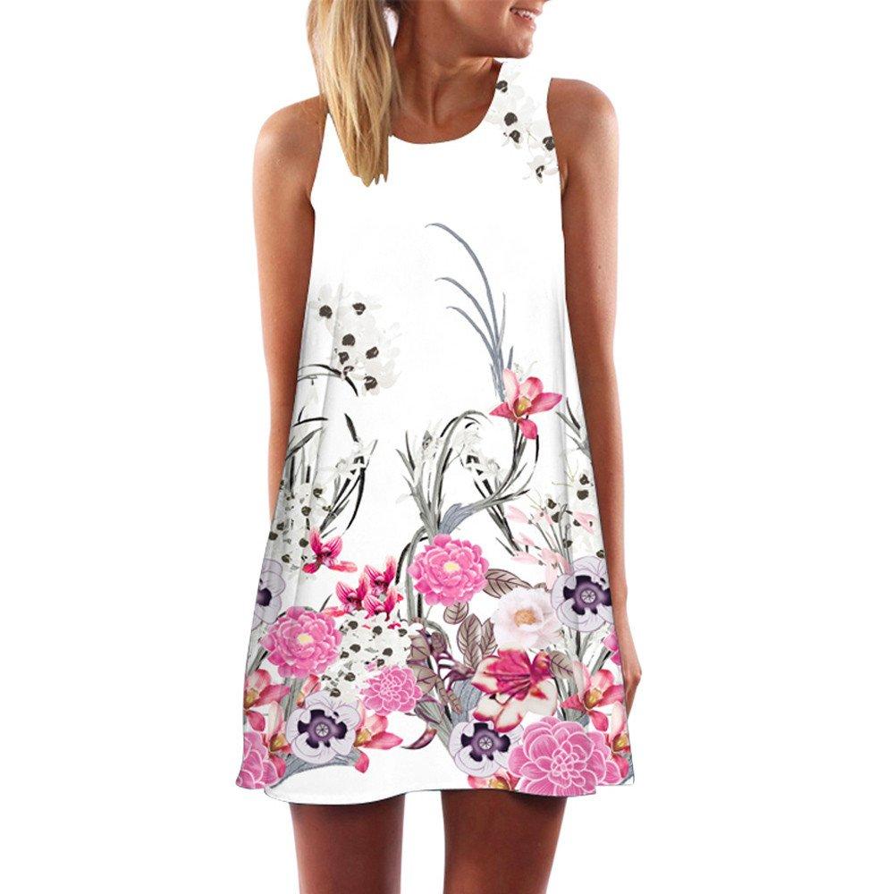 Women's Vintage Boho Printed Sleeveless Mini Dress Summer Casual Strapless O-Neck Party Dresses Beach Sundress