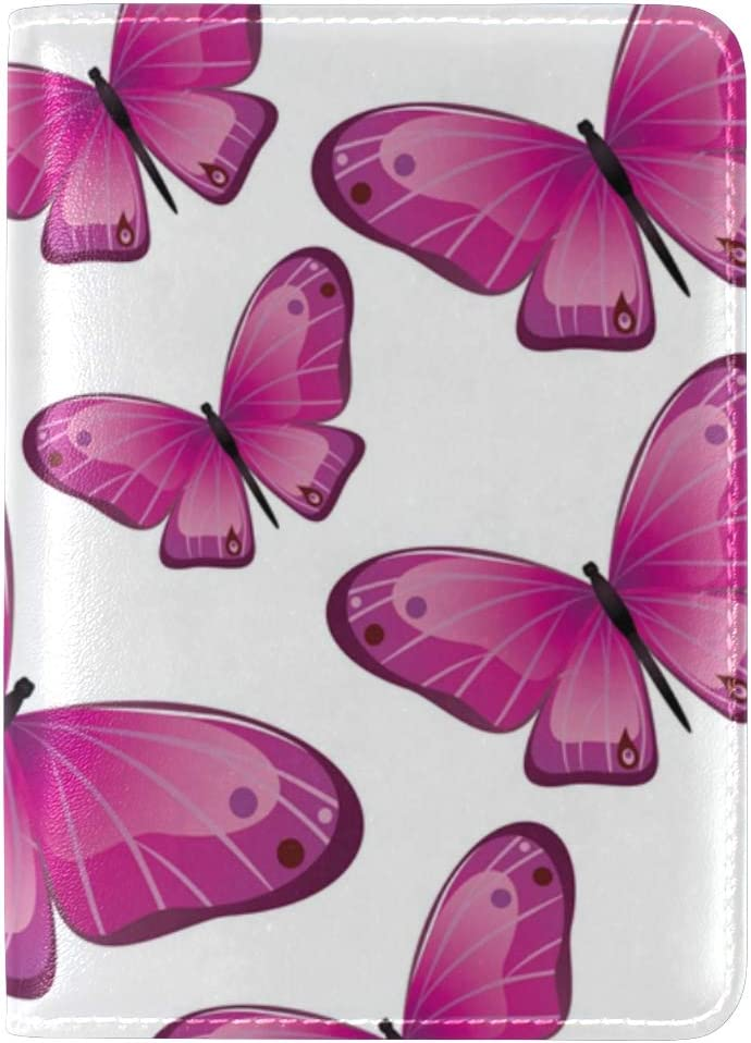 LEISISI Many Pink Butterflies Genuine Real Leather Passport Holder Cover Travel Case
