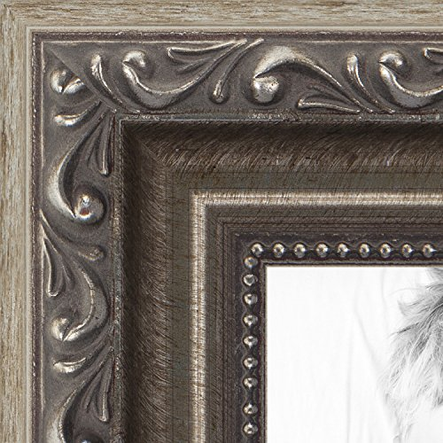 ArtToFrames 24x36 inch Antique Silver with Beads Wood Picture Frame, (Antique Four Poster)