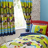 Diggers Tractor Bull Dozer Kids Boy Children's Lined Curtains Set 66 X 72 Inch Drop