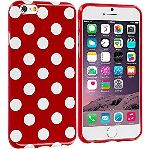 Accessory Planet(TM) Red / White TPU Polka Dot Rubber Design Skin Case Cover for Apple iPhone 6 Plus (5.5)
