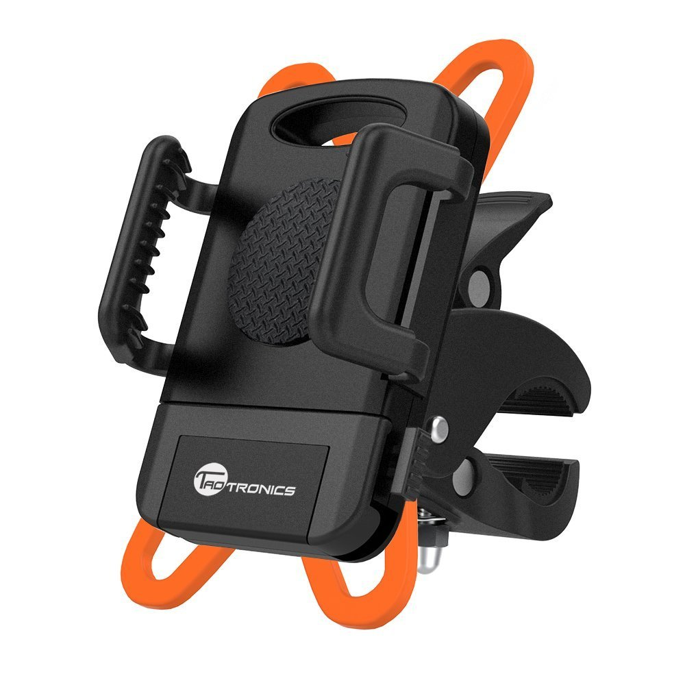 TaoTronics Bike Phone Mount Bicycle Holder  Universal Cradle Clamp for iOS Android Smartphone  Boating GPS  Other Devices  with One-button Released  360 Degrees Rotatable  Rubber Strap - Black