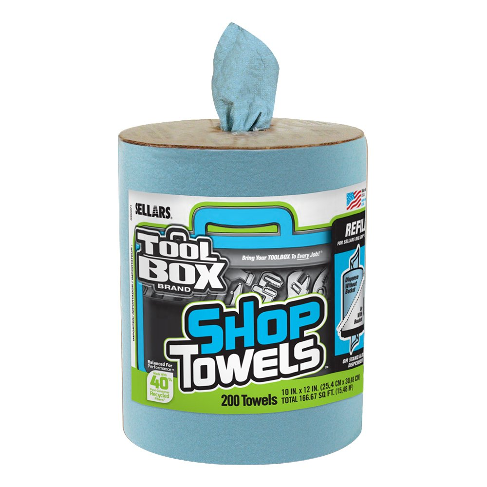 Sellars 55207 ToolBox Shop Towels Dispenser Refill, 12'' Length x 10'' Width, Blue (6 Rolls of 200 Sheets)
