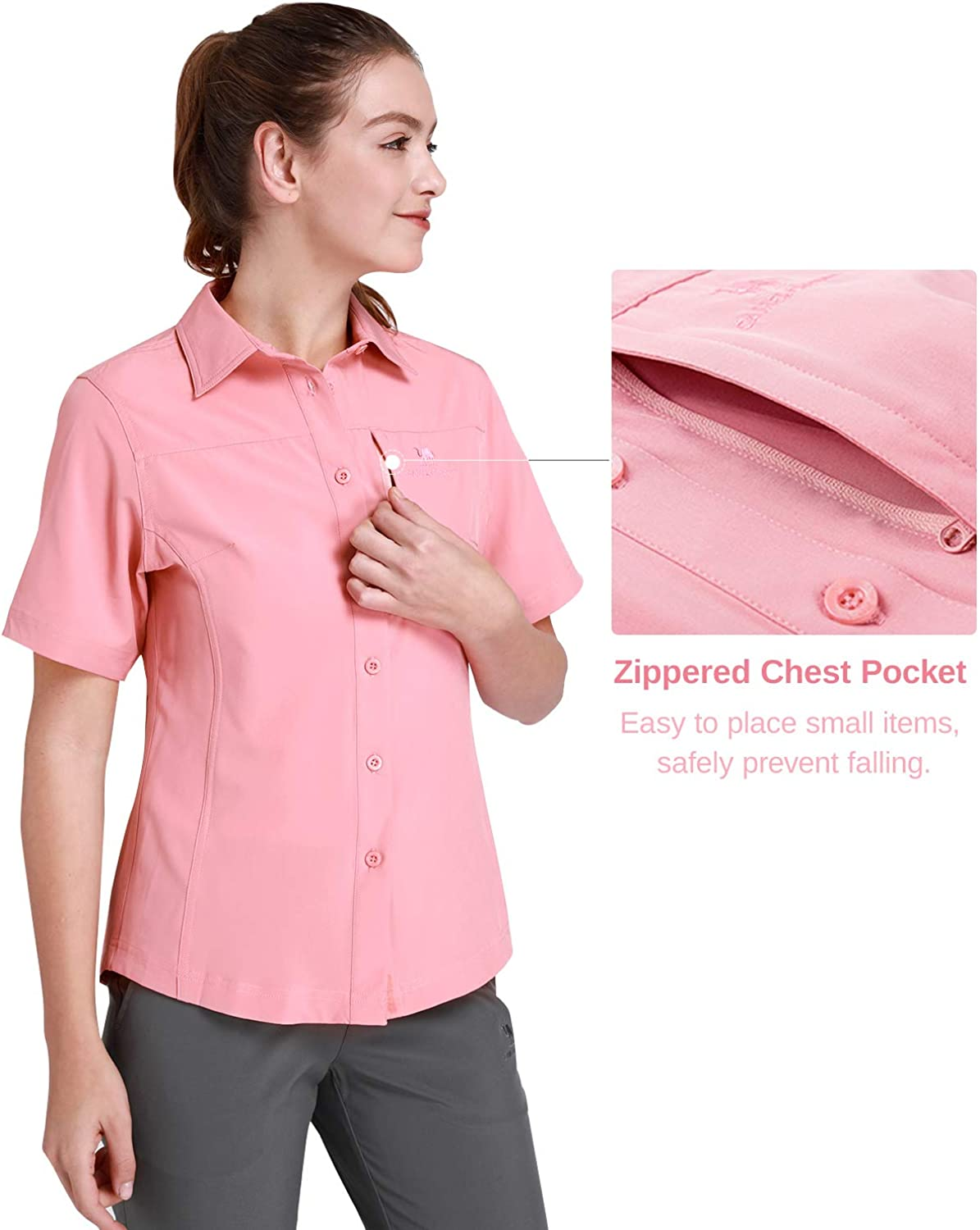 CAMEL CROWN Quick Dry Short Sleeve Shirt With UV Protection For Women Hiking Fishing Outdoor