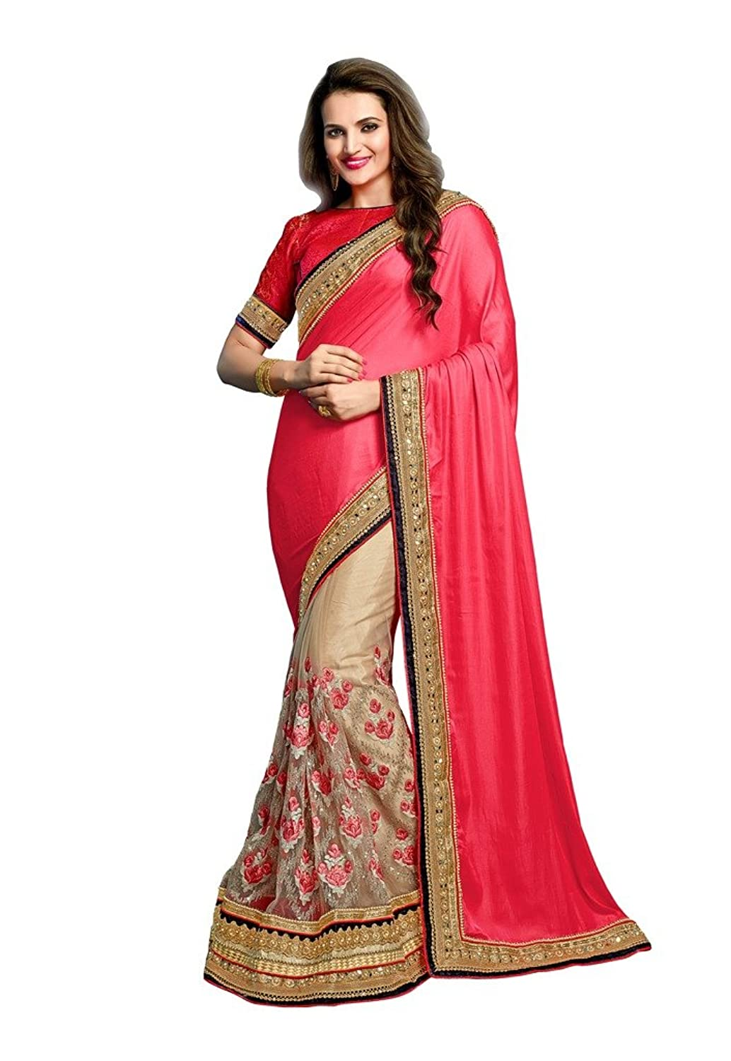 EthnicWear Embroidered Chiffon Net Pink Latest Collection Sarees Saris
