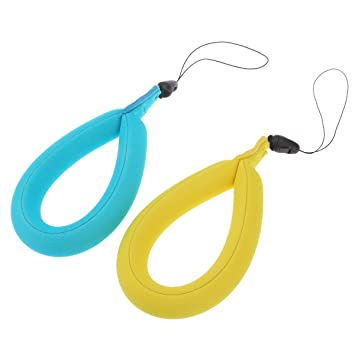 LEDMOMO Cámara flotante, 2pcs universal impermeable espuma flotante correa de muñeca para la cámara, claves, gafas de sol y teléfonos (amarillo y azul): ...