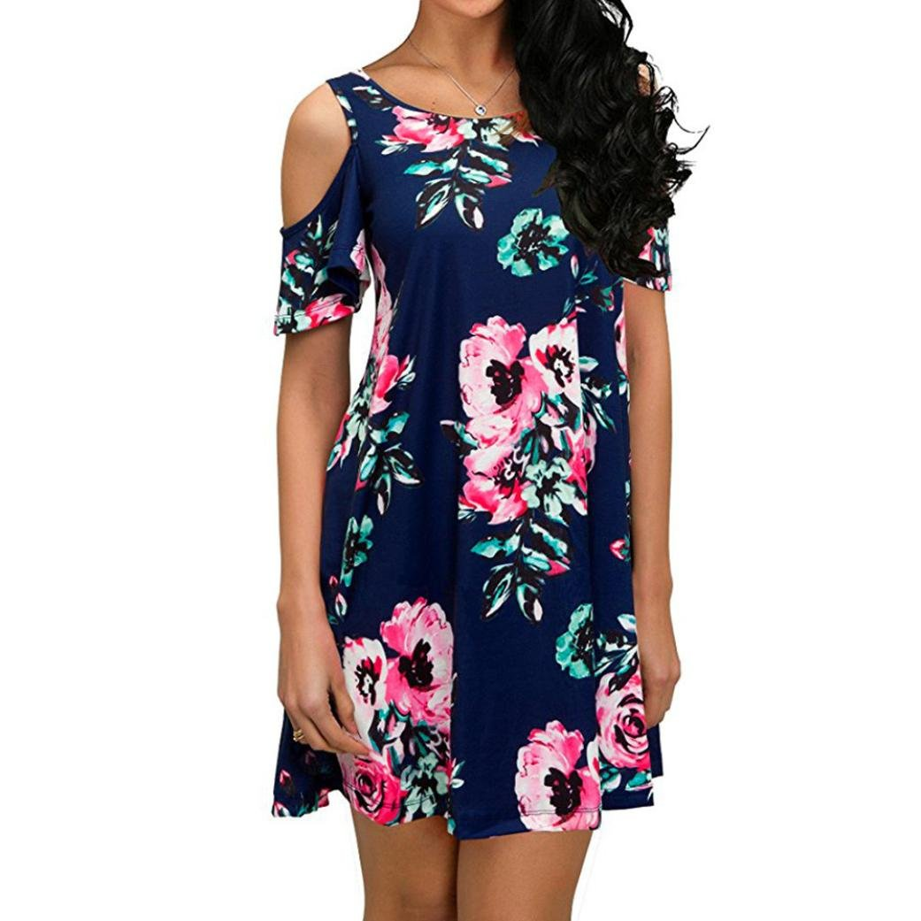HODOD Women's Floral Print Round Neck Short Sleeves Long Maxi Casual Dress (Navy, S)