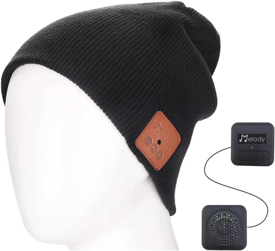 Bluetooth Music Beanie Cap, Coeuspow Wireless 4.1 Stereo Hat Headphone Winter Knit Cap with CVC 6.0 Noise Cancelling,Built-in Mic Hand Free and Rechargeable Battery for All Cell Phones,Ipad,PDA-Black