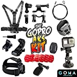 GOMA Industries Best GoPro Accessories Kit For Hero5, 4, Session, Mounts for all Action Cams & camcorders SJ4000, SJ5000, Garmin Virbx, xiaomi Yi- Drive, Bike, Dive Or Skydive With this Starter Bundle