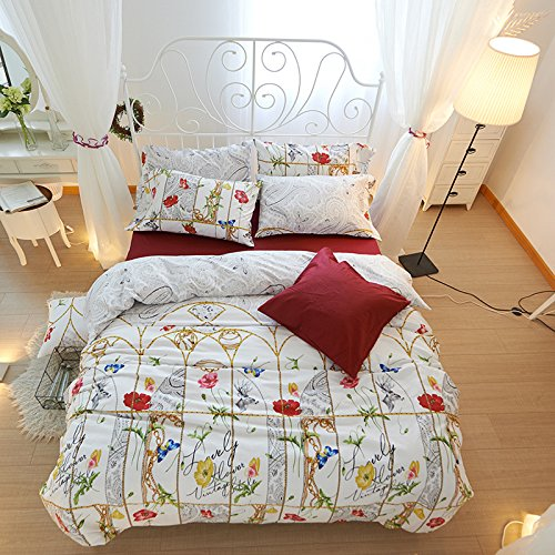 Duvet Cover Sets Floral Activity Cotton Four Sets Of Floral Bedding, Scorpio Red, Super King