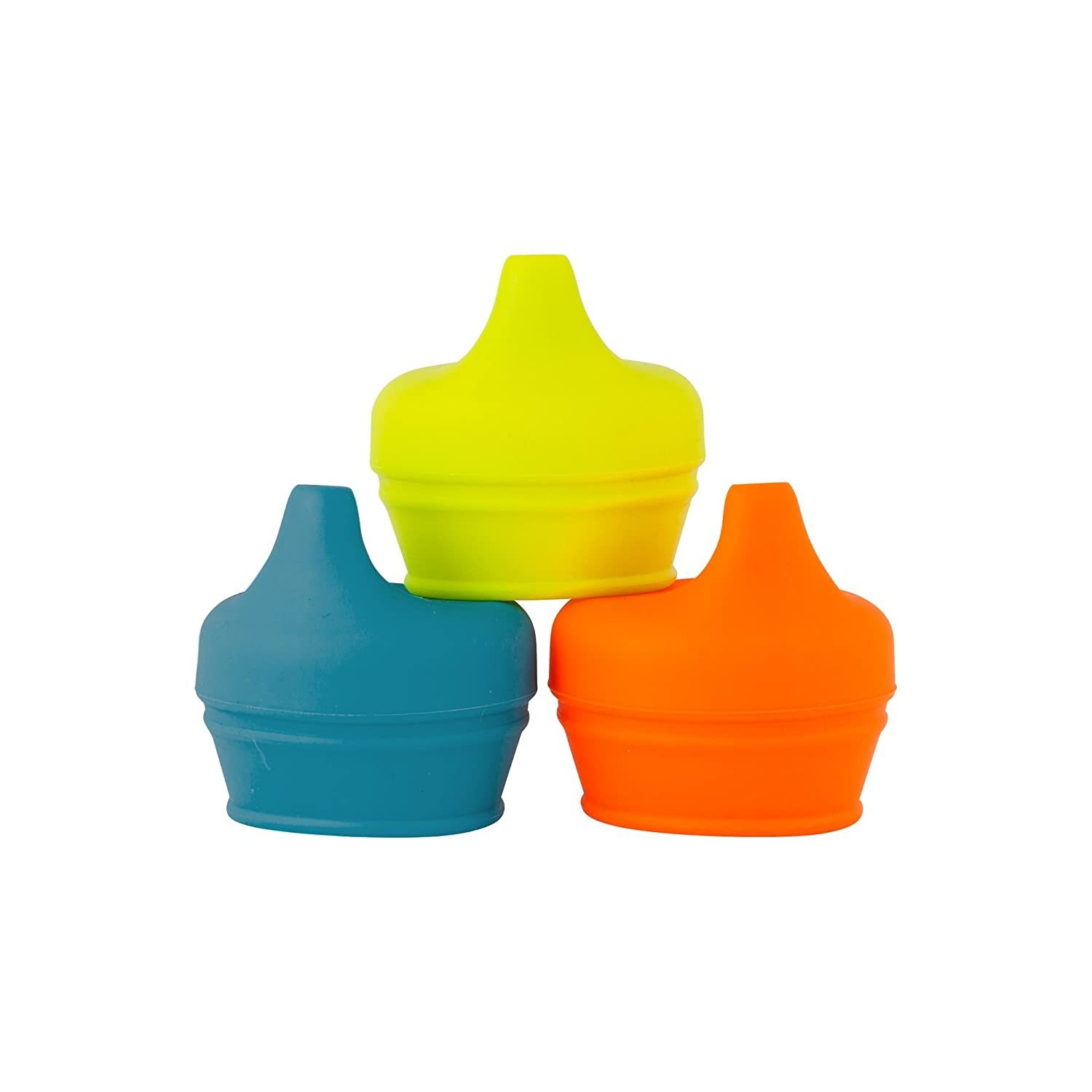 Boon Snug Silicone Sippy Lids Blue/Orange/Green B11147A