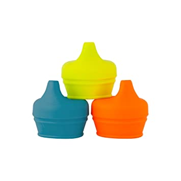 Elegant Boon Snug Silicone Sippy Lids Blue/Orange/Green