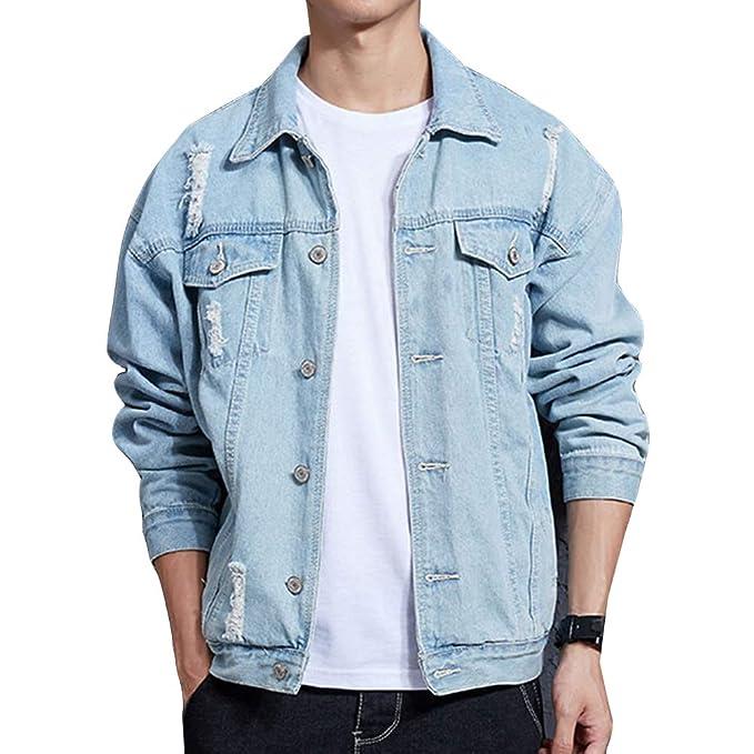 17c3f1bb1f Uomo Vintage Giacca di Jeans, Giubbotto Manica Lunga Cappotto Oversize