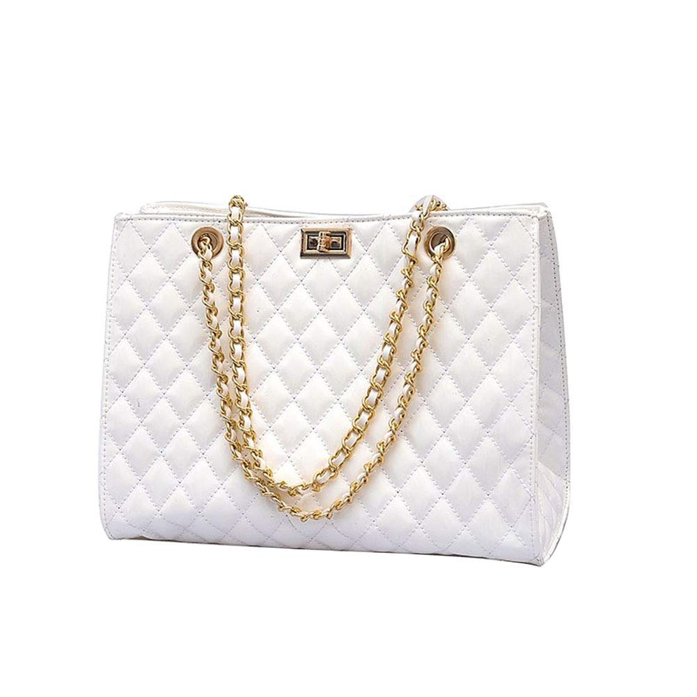 DCRYWRX Women's Chain Quilted PU Leather Shoulder Bag Zipper Simple Large Casual Tote White/Black L13 W6 H9.5