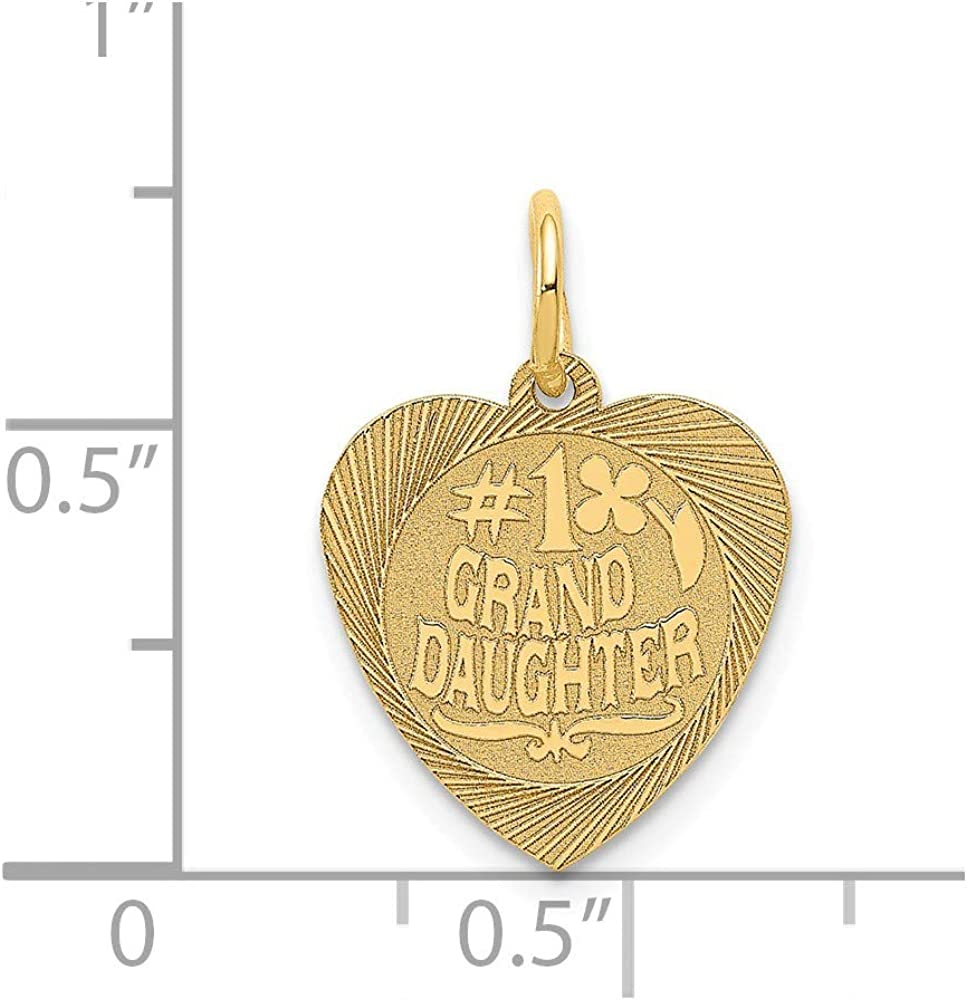 Black Bow Jewelry 14k Yellow Gold Satin #1 Granddaughter Engravable Heart Pendant 14mm