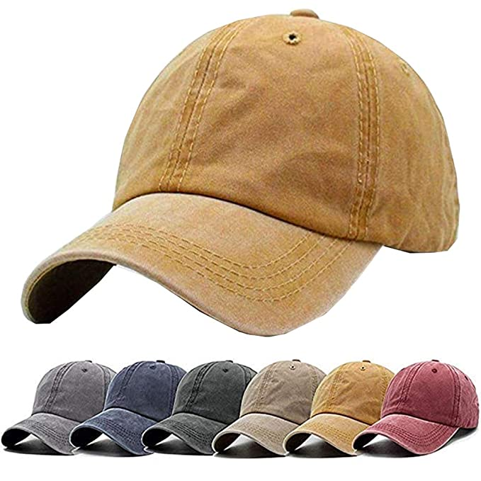 cdffc830 Unisex Vintage Washed Distressed Baseball-Cap Twill Adjustable Dad-Hat  (A11-Yellow
