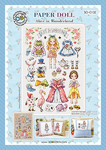 SO-G132 PAPER DOLL-Alice in Wonderland, SODA Cross Stitch Pattern leaflet, authentic Korean cross stitch design chart color printed on coated paper