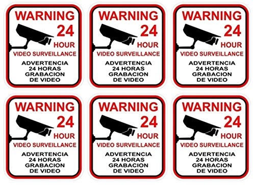 6 Pcs Leading Popular Video Surveillance Sticker Yard Sign Anti-Thief Anti-Thief Premises Monitored Size 3