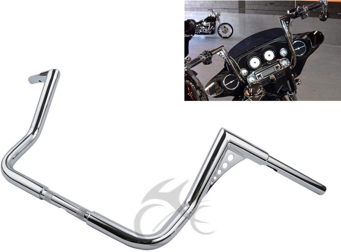 TCMT Chrome 14 Rise Ape Hanger Bar 1-1//4 Fat Handlebar Fits For Harley Dressers Baggers Touring