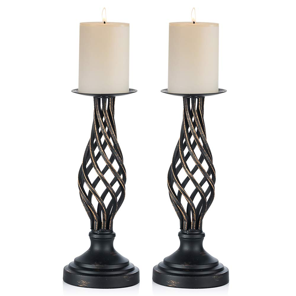 "Sfeexun Pcs of 2 Metal Vintage Twist Style Candle Holder for 3"" Dia Candle - Antiquated Pillar Candleholder - Vases Holder for Wedding Centerpieces - Party Dinner Event Centerpiece Home Decor (2 x L)"