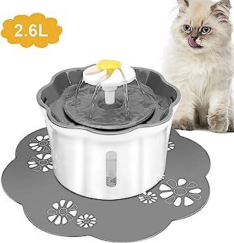 Powcan Bebedero Gatos, Fuente silencioso para Gatos 2.6L Bebedero Automático Fuente de Agua para Mascotas Gatos Perros 3 Modos Ajustable (Blanco): Amazon.es: Productos para mascotas