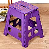 Livebest 15'' Super Strong Folding Step Stool with Portable Carrying Handle Safe Enough for kids Adults at Home, Kitchen and Bathroom,300 lbs capacity (purple, 1)