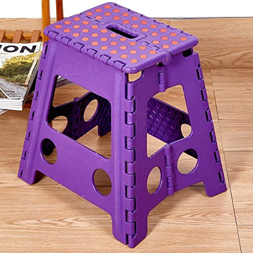 Livebest 15'' Super Strong Folding Step Stool with Portable Carrying Handle Safe Enough for kids Adults at Home, Kitchen and Bathroom,300 lbs capacity (purple, 1) by Livebest