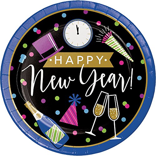 Creative Converting 324191 96-Count Sturdy Style Dinner/Large Paper Plates, New Year Cheers (Champagne Color Paper Plates)