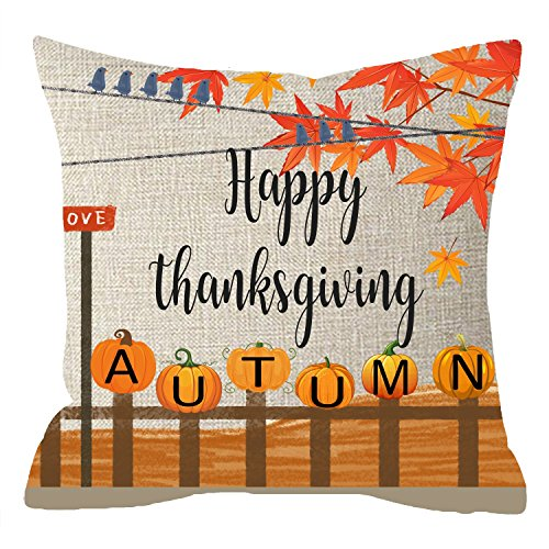 NIDITW Nice Gift Autumn Greeting Fall Leaves Happy Thanksgiving Pumpkins Fence Birds Field Body Cotton Linen Throw Pillow Case Cushion Cover Sofa Decorative Square 18 Inches (Field Cotton Throw)
