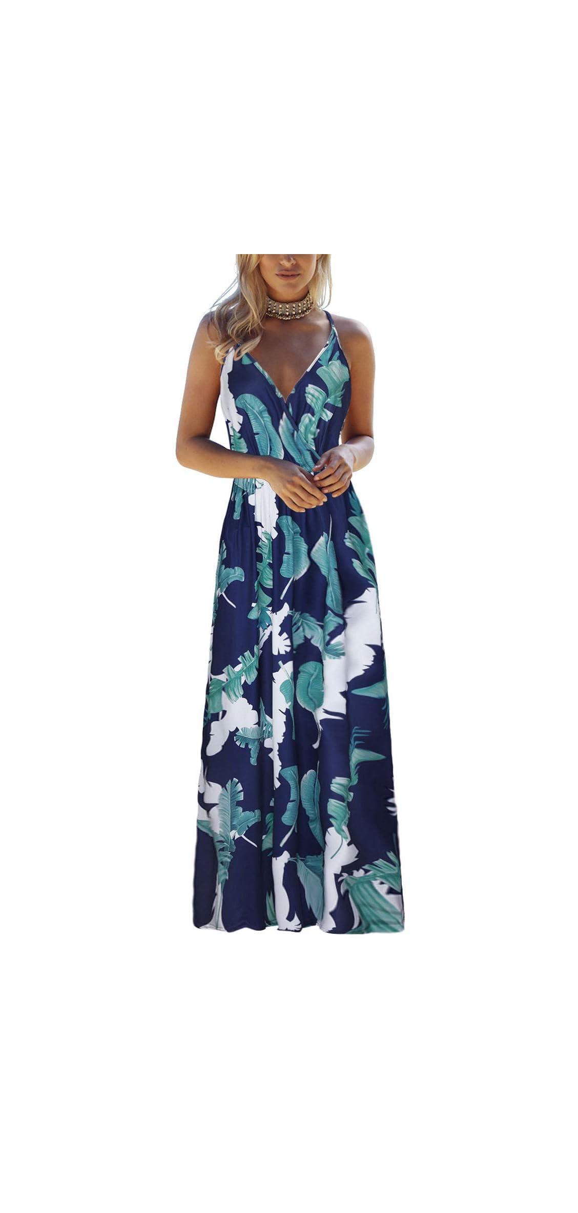 Womens Summer Deep V Neck Floral Adjustable Spaghetti Maxi