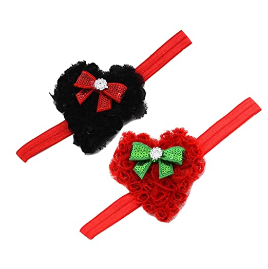 588787868 Baby Girls Flower Headband Heart-Shaped Hair Band With Bowknot Valentine's  Day JHV03 (Black