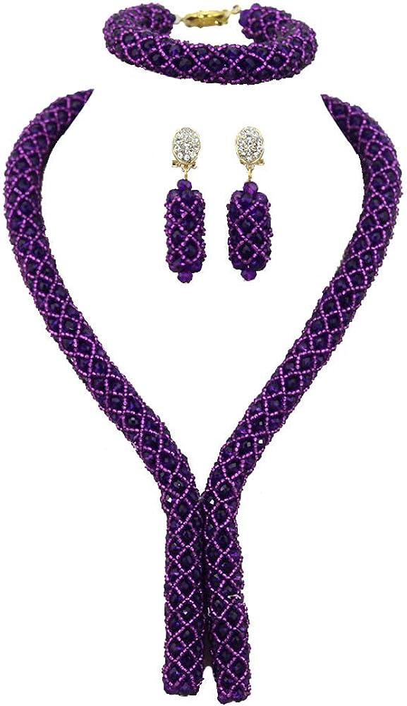 Africanbeads 6mm 1Row Purple Crystal Beaded Jewelry Set Nigerian Wedding Bridal Jewelry Set