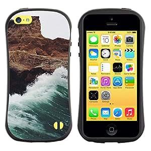 LASTONE PHONE CASE / Suave Silicona Caso Carcasa de Caucho Funda para Apple Iphone 5C / Wave White Foam Rocks Cliff