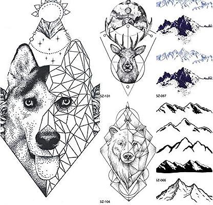 yyyDL tatuajes temporales Totem geométrico perro lobo mujeres ...