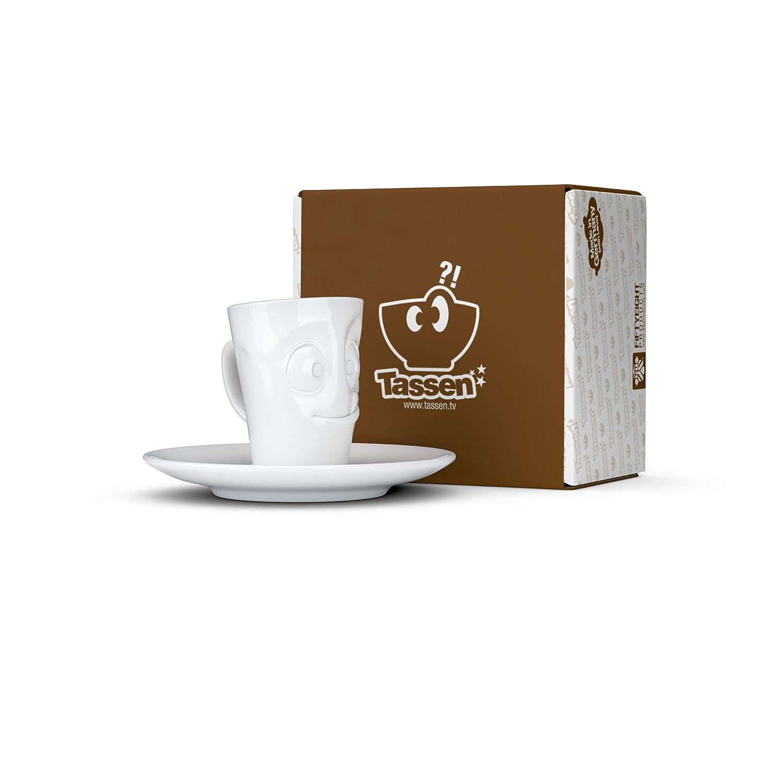 Hartporzellan lecker Fifty Eight T02.14.01 Mug Espresso-Mug /& Unterteller wei/ß