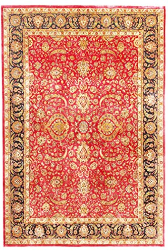 Indian Handmade Carpet Floral Hand Knotted Indian Antique Area Rug Jaipur Oriental Carpet 9' X 12' (270 X 370 cm) Red Living Area Rug