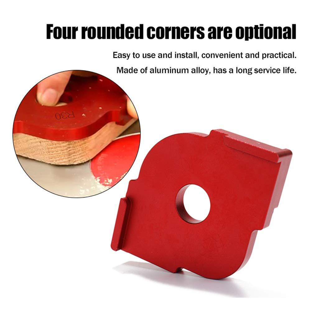 Roeam 2 unids Plantilla de posicionamiento J-R Localizador /ángulo para carpinter/ía M/áquina de grabado Half Round Corner Radius de plantilla aleaci/ón de aluminio