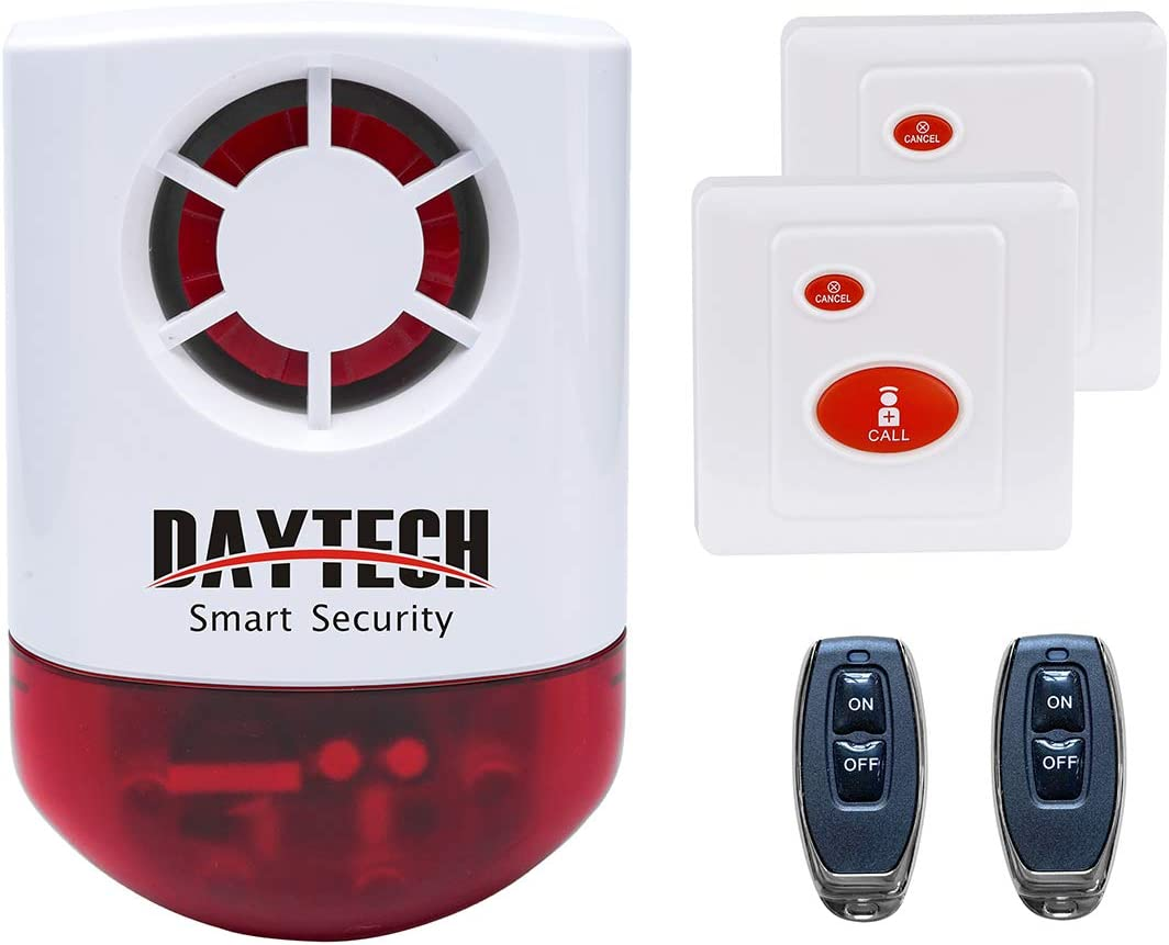 Daytech Wireless Strobe Siren Alarm Home Caring Loud Outdoor SOS Alert System 1 Red Flashing Siren,2 Remotes Panic Button, 2 Emergency Button for Store Home Hotel Jewelry Shop Security & Fire Alarm