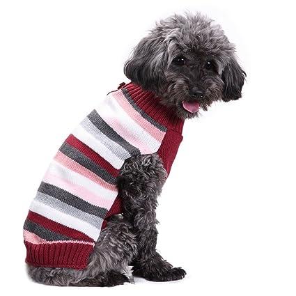 0d66253a37c Amazon.com: Elogoog Dog Clothes, Classic Stripe Pet Knitted Jumper ...