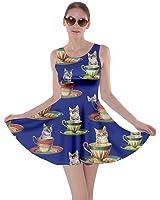 CowCow Womens Cats Kittens Saturn Space Stars Retro Cute Cartoon Skater Dress