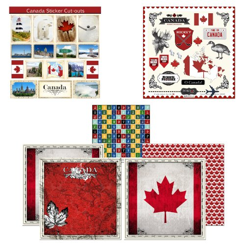 Scrapbook Customs Themed Paper and Stickers Scrapbook Kit, Canada - Stickers Canada Scrapbook