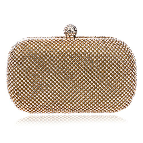 Evening Clutch Beaded Pack Evening Bridal Purse Golden Handbag Bag Women's Crystal pX4WnT6n