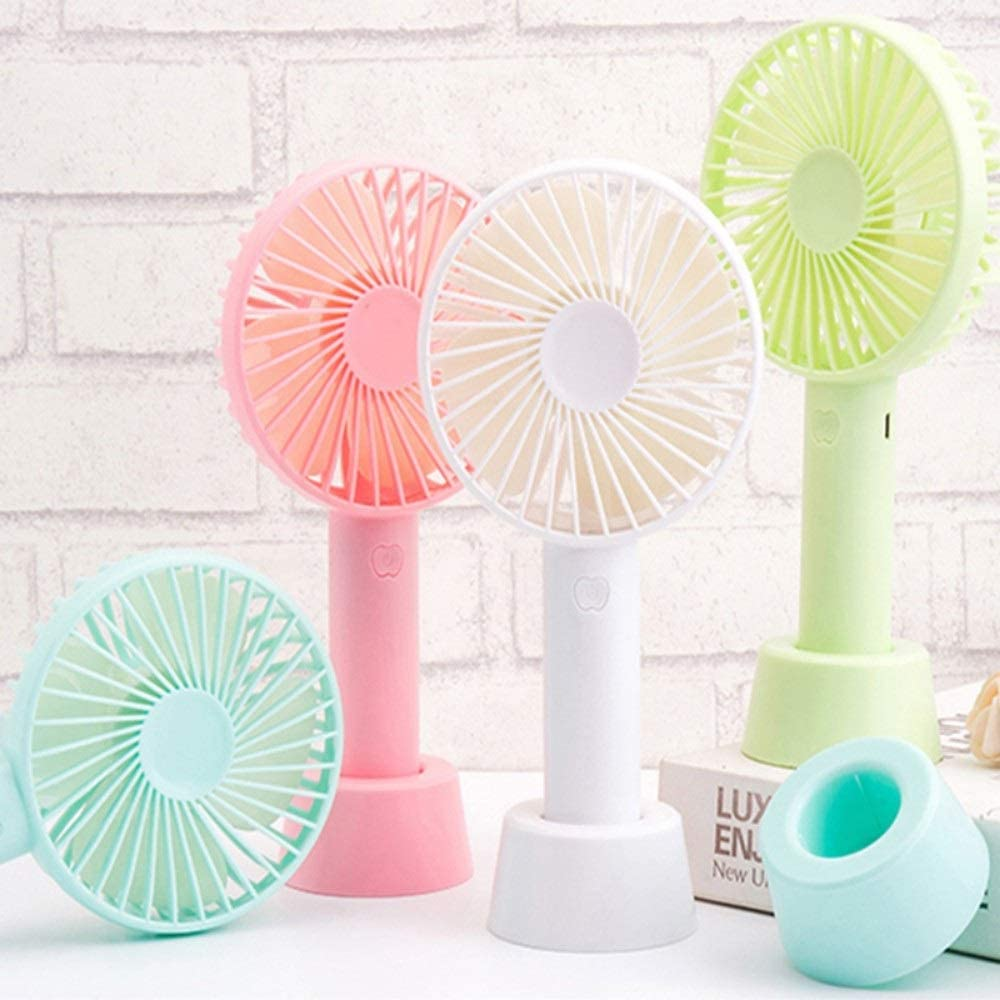 Color : Simple White ROIY USB Mini Small Fan Silent Small Fan Office Portable Handheld Small Fan Rechargeable Mini Fan USB Cherry Powder