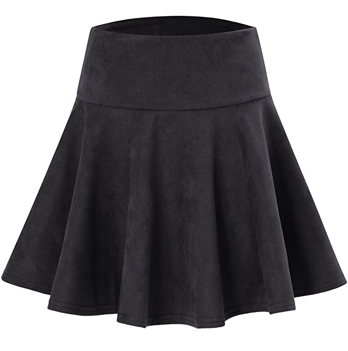 Women's Faux Suede Flared A-Line Skater Skirt with Elastic Waist Black L